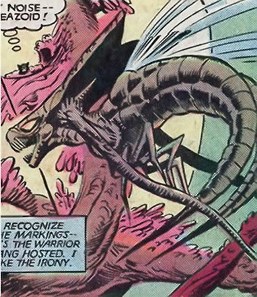 Brood aliens (X-Men enemies) (Marvel Comics) buzzing around