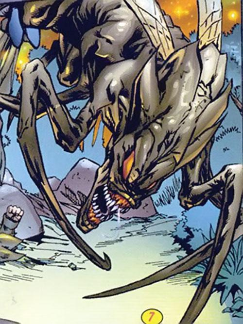 Brood aliens (X-Men enemies) (Marvel Comics) diving