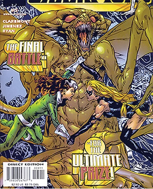 Brood aliens (X-Men enemies) (Marvel Comics) queen with Rogue and Ms. Marvel