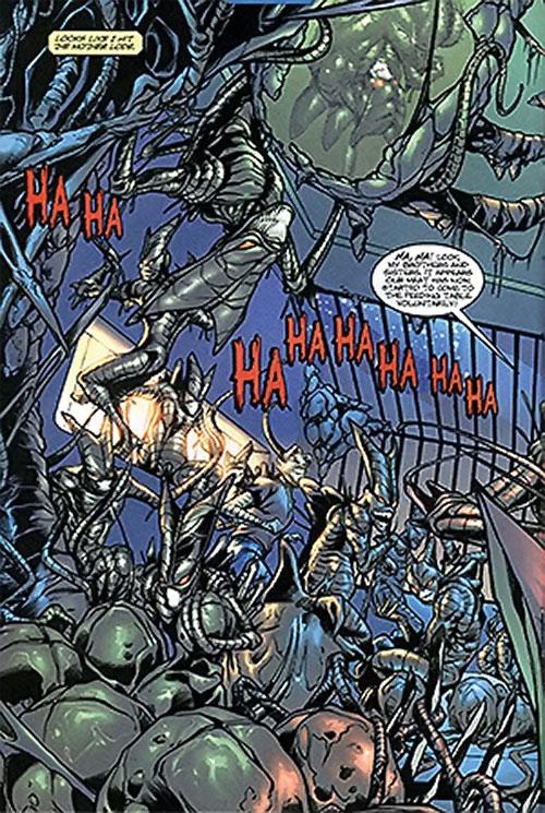 Brood aliens (X-Men enemies) (Marvel Comics) converting a Earth building
