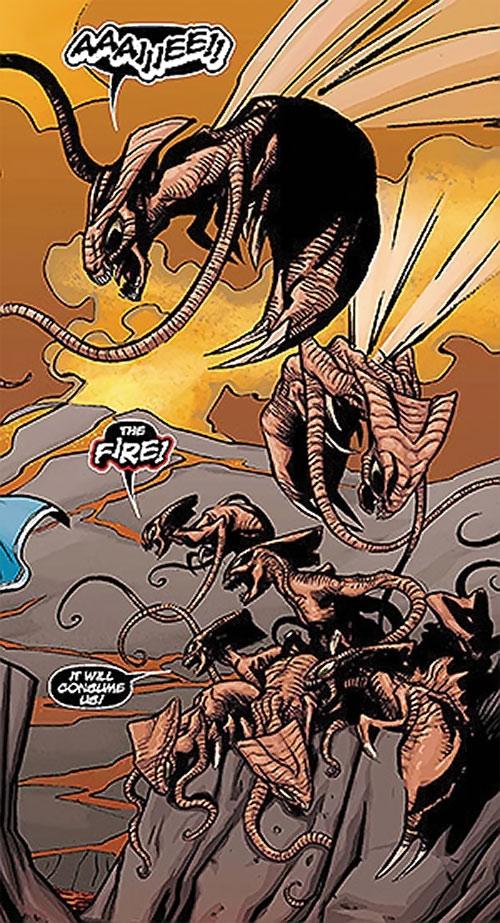 Brood aliens (X-Men enemies) (Marvel Comics) afraid of lava