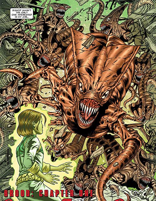 Brood aliens (X-Men enemies) (Marvel Comics) horde attacking Hope