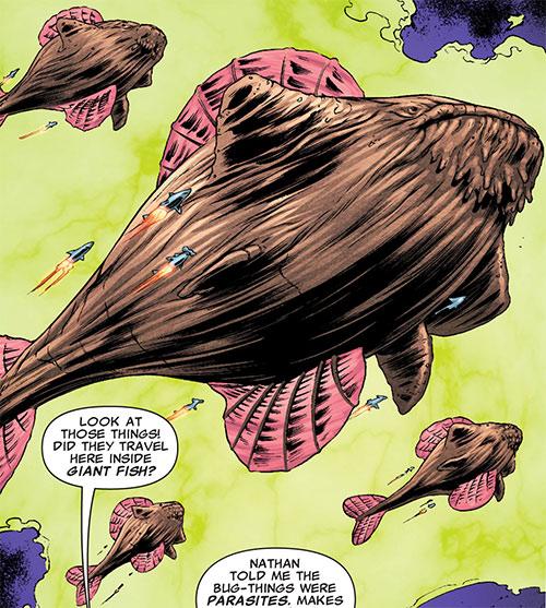 Brood aliens (X-Men enemies) (Marvel Comics) several acanti space whales