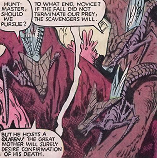 Brood aliens (X-Men enemies) (Marvel Comics) in an alien jungle