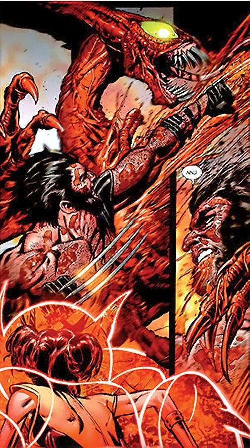 Brood aliens (X-Men enemies) (Marvel Comics) vs. Wolverine and Armor