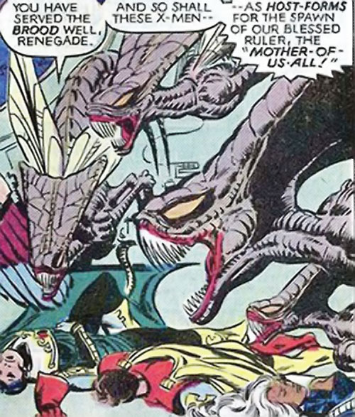 Brood aliens (X-Men enemies) (Marvel Comics) over the unconscious X-Men