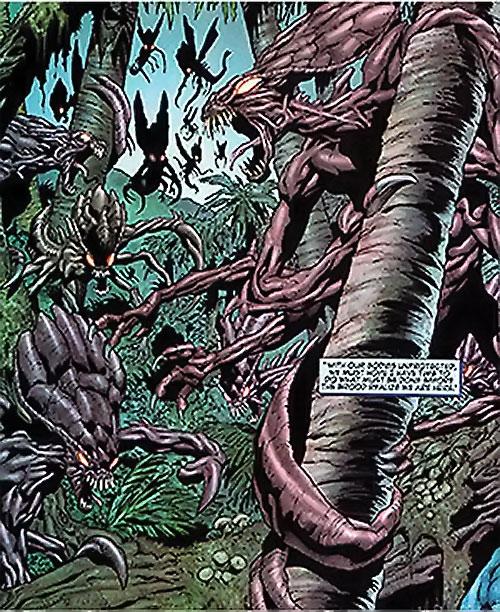 Brood aliens (X-Men enemies) (Marvel Comics) warriors in a jungle