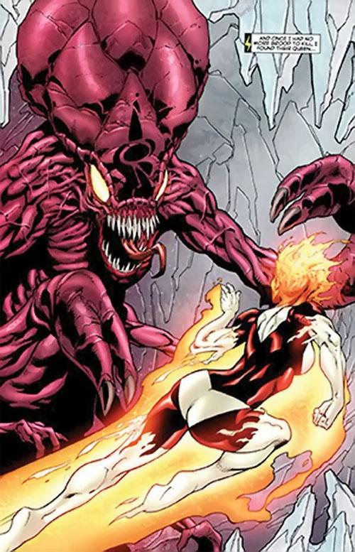 Brood aliens (X-Men enemies) (Marvel Comics) queen vs. Binary