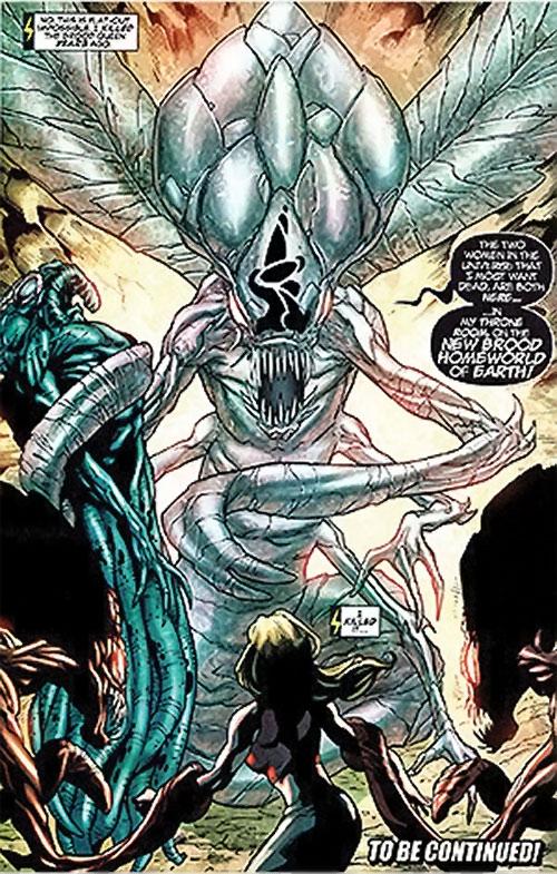 Brood aliens (X-Men enemies) (Marvel Comics) queen in crystalline state