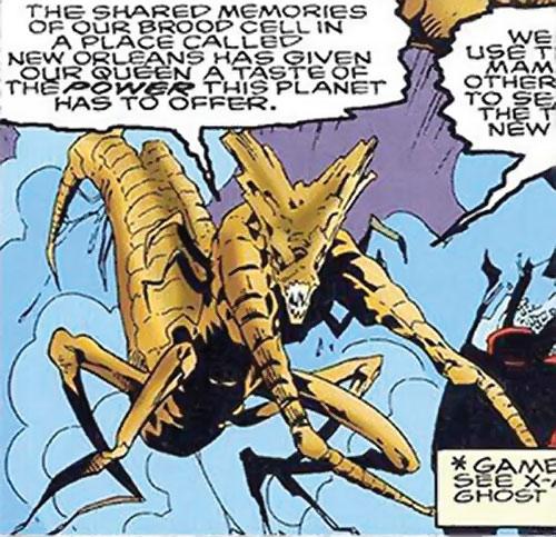 Brood aliens (X-Men enemies) (Marvel Comics) and blue fog