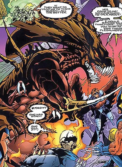 Brood aliens (X-Men enemies) (Marvel Comics) queen and ghost rider