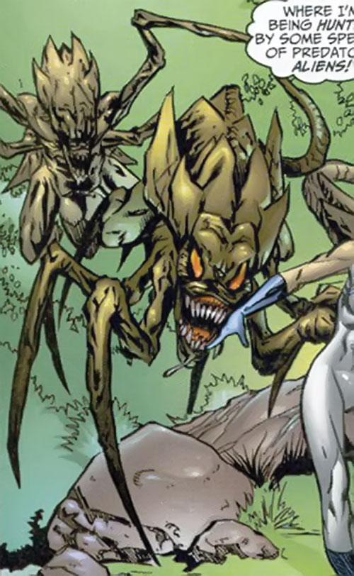 Brood aliens (X-Men enemies) (Marvel Comics) hunting in a jungle