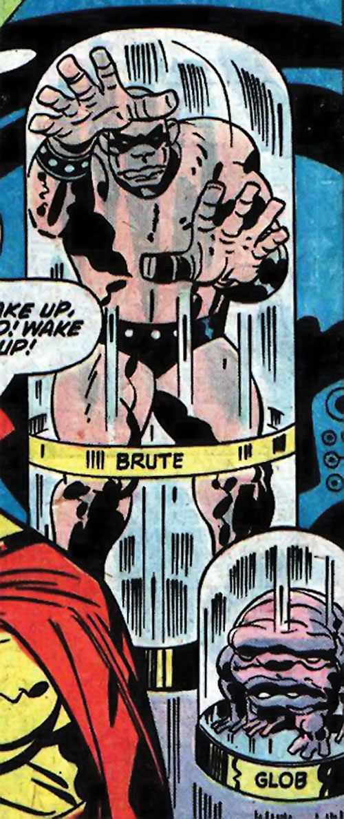 Brute and Glob (Sandman characters) (DC Comics) pacing in their glass tube cells