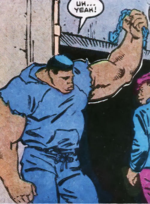 Brute of Trash (Power Pack character) (Marvel Comics) lifting a heavy door