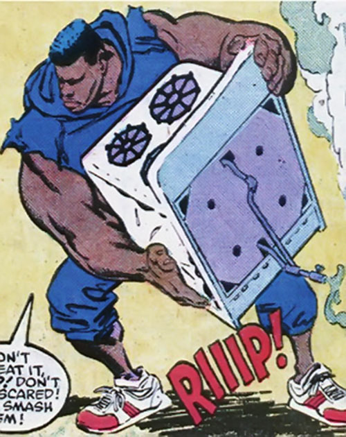 Brute of Trash (Power Pack character) (Marvel Comics) picking up a gas stove