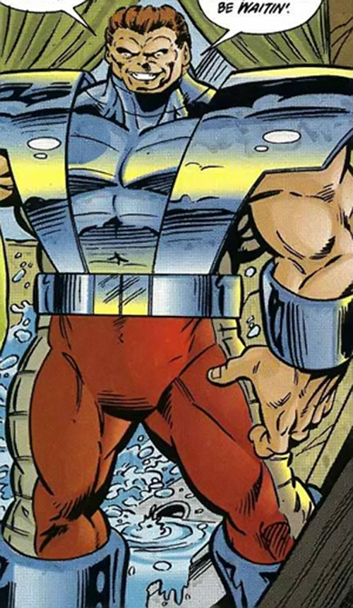 Bruut (Ultraverse Comics) (Exiles enemy) in a wrecked kitchen