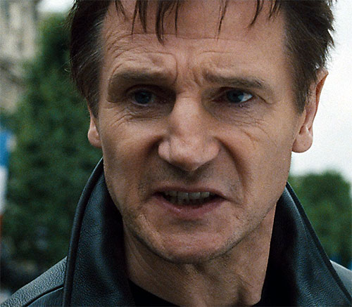 Bryan Mills (Liam Neeson in the Taken movie) angry face closeup