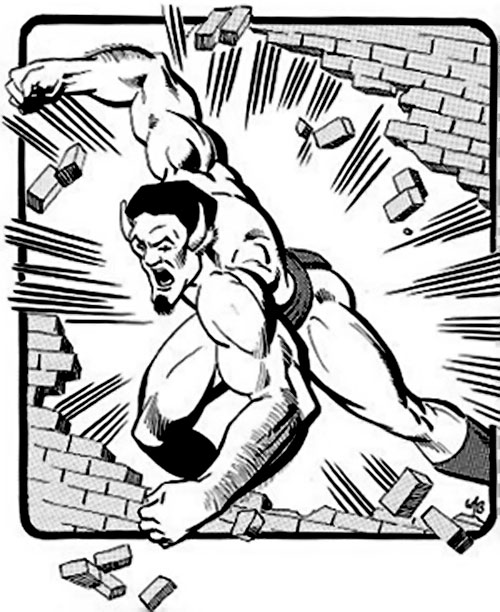 Buffalo (Champions RPG) crashing through a brick wall