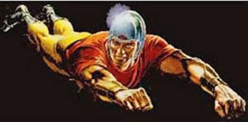 Bulletman flying over a back background