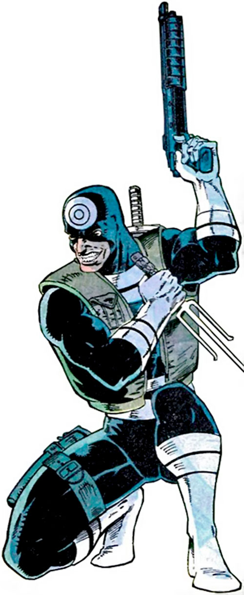 Bullseye (Marvel Comics) (Daredevil enemy) with a riot gun and a sai