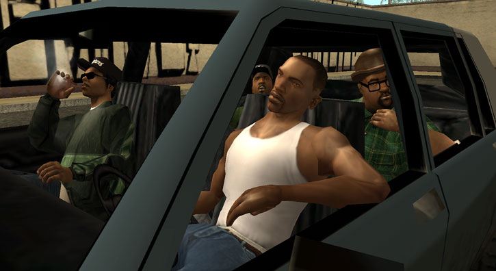 CJ (Grand Theft Auto San Andreas) with the Grove OGs
