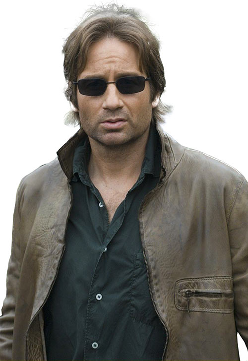 Hank Moody (David Duchovny in Californication) looking stoned, with sunglasses