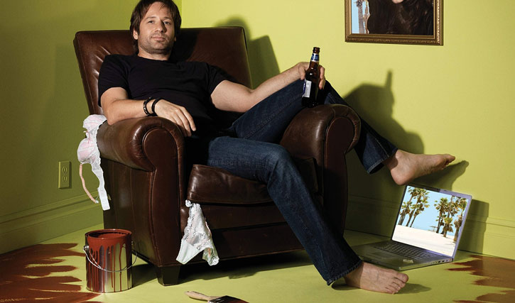 Hank Moody (David Duchovny in Californication) painted into a corner with a beer and lingerie