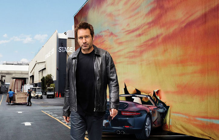 Hank Moody (David Duchovny in Californication) driving into the sunset crash metaphor