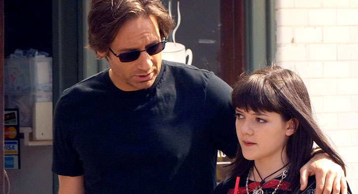 Hank Moody (David Duchovny in Californication) with his daughter