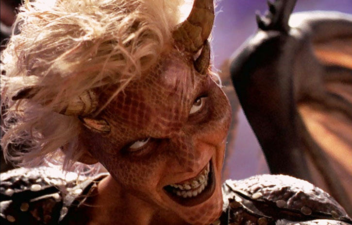 Callisto (Hudson Leick) in demonic form, grinning