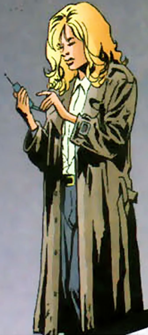 Agent Cameron Chase wearing a trench coat