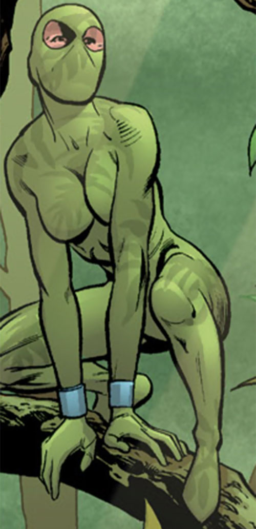 Camorouge (Green Arrow character) (DC Comics) in green in a jungle
