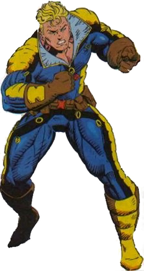 Cannonball (X-Force) (Marvel Comics) in a blue and gold costume