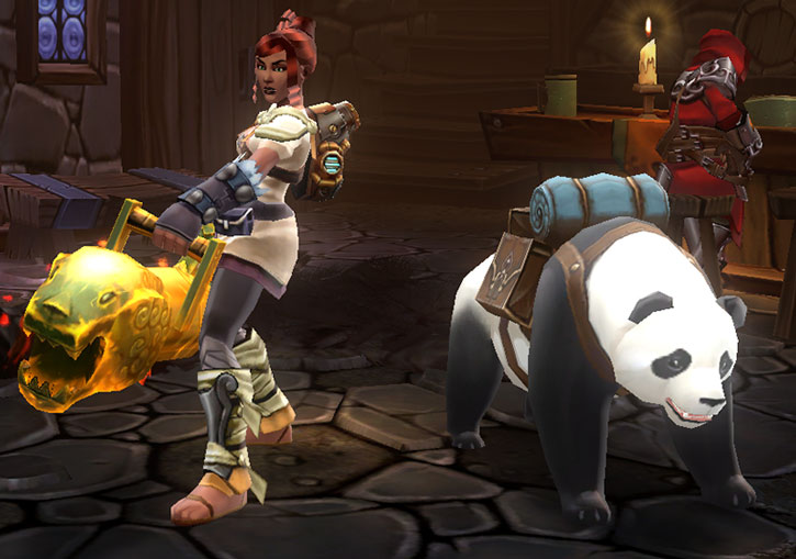 Torchlight engineer with a cannon and a pet panda