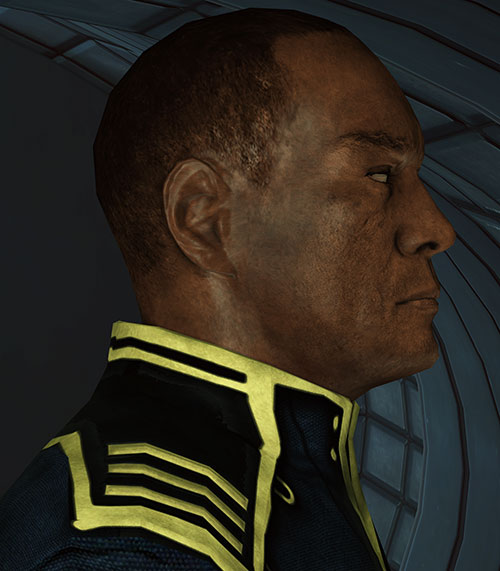 Captain Anderson (Mass Effect 1) face closeup side view