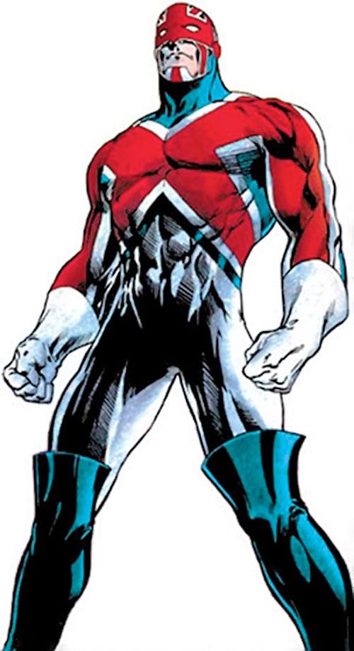 Captain Britain (Marvel Comics) by Alan Davis, low angle shot