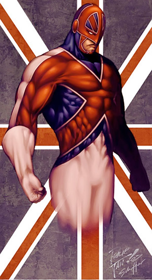 Captain Britain (Marvel Comics) and an Union Jack, by Tan