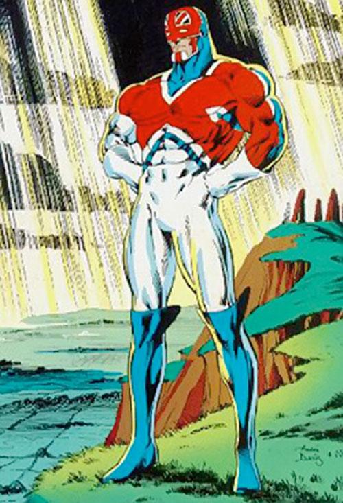 Captain Britain (Marvel Comics) by Alan Davis, with god rays