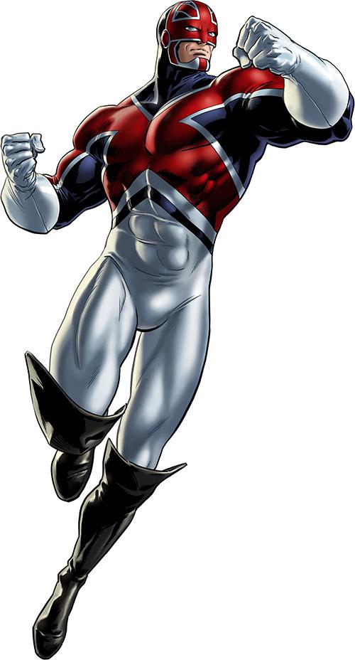 Captain Britain (Marvel Comics) with the tricolour costume