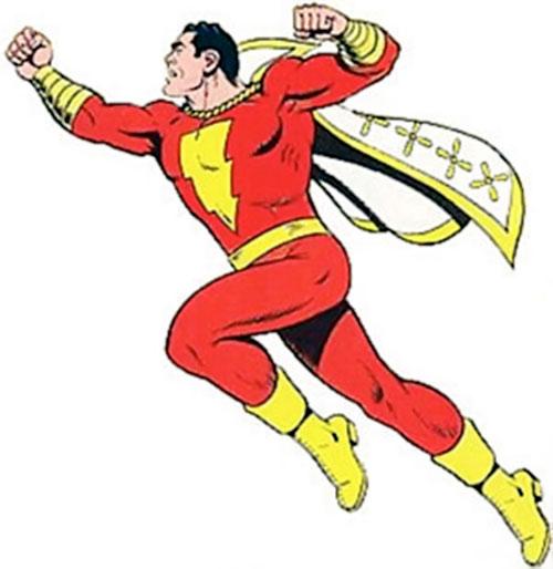 Captain Marvel flying
