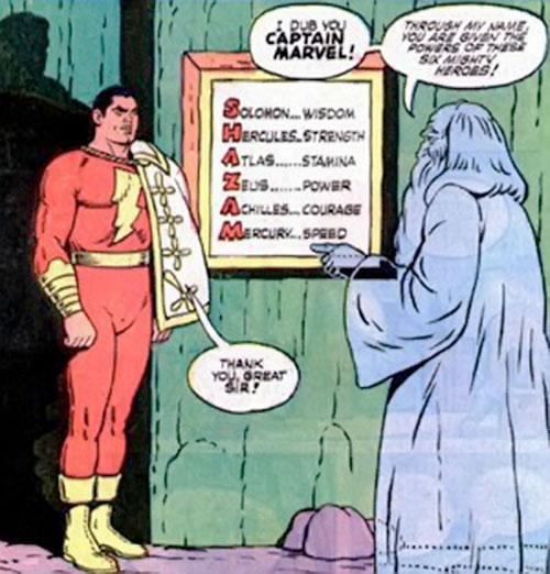 Captain Marvel, the Wizard and the SHAZAM list