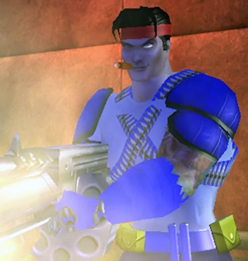 Captain Sweden (City of Heroes model) with gun blazing
