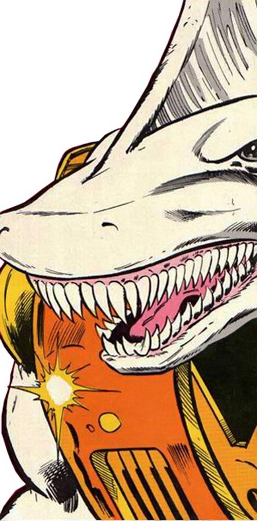Carcharo (Infinity, Inc. enemy) (DC Comics) face closeup