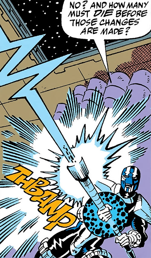 Cardiac (Marvel Comics) (Spider-Man character) firing a blast from his staff