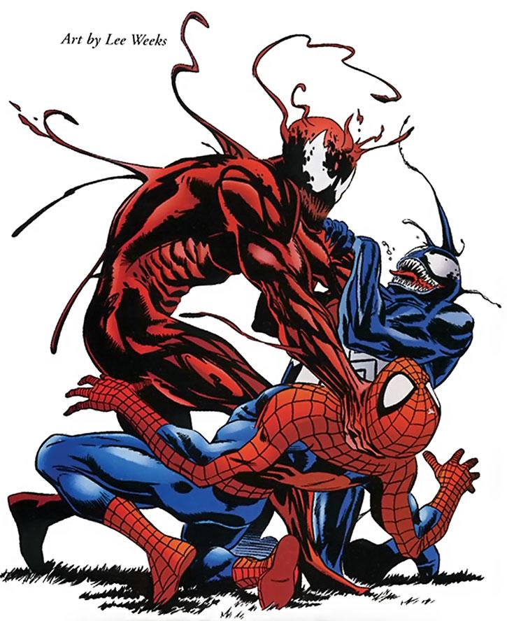Carnage strangles Venom and Spider-Man