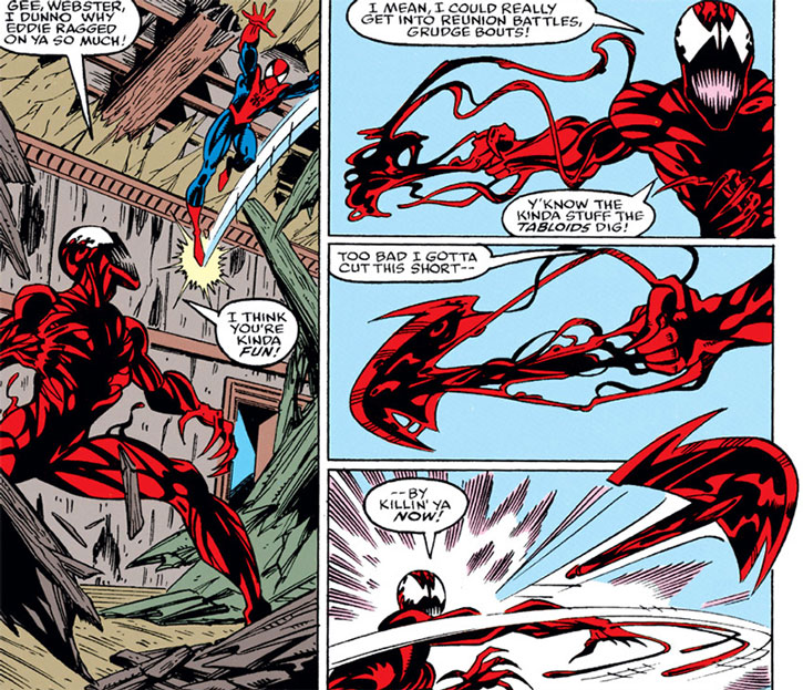 Carnage grows and throws an axe at Spider-Man