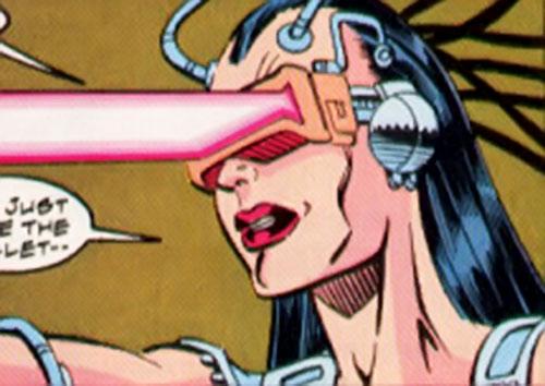 Cathode (Silver Sable enemy) (Marvel Comics) firing an optic blast