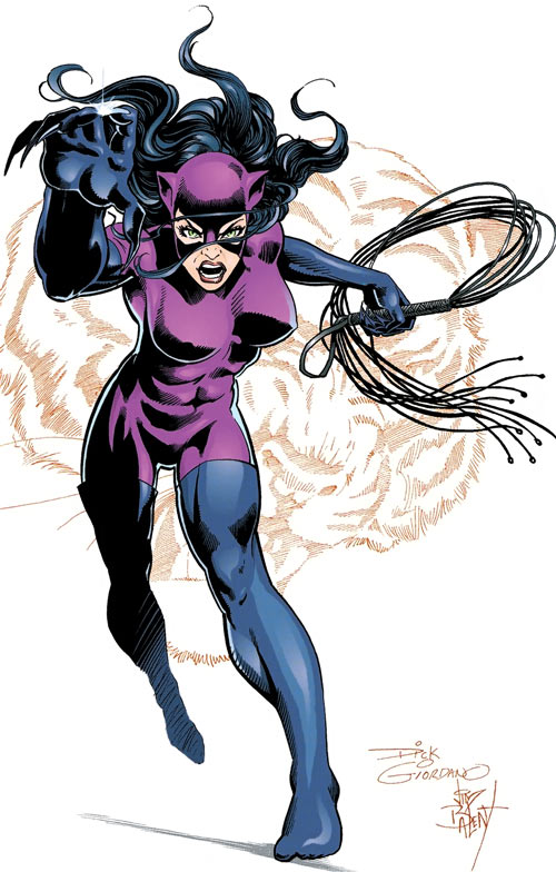 DC Comics' Catwoman in 1995, with the purple suit. By Giordano and Balent.