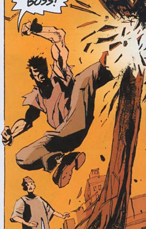 Cedric (Fight for Tomorrow) (DC Comics) kicking a wooden post