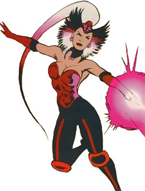 Cerise of Excalibur (Marvel Comics) flying and blasting